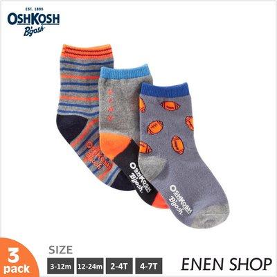 『Enen Shop』@OshKosh 美式足球/條紋款針織襪三件組#10642|3M-12M-24M-2T-4T-7T