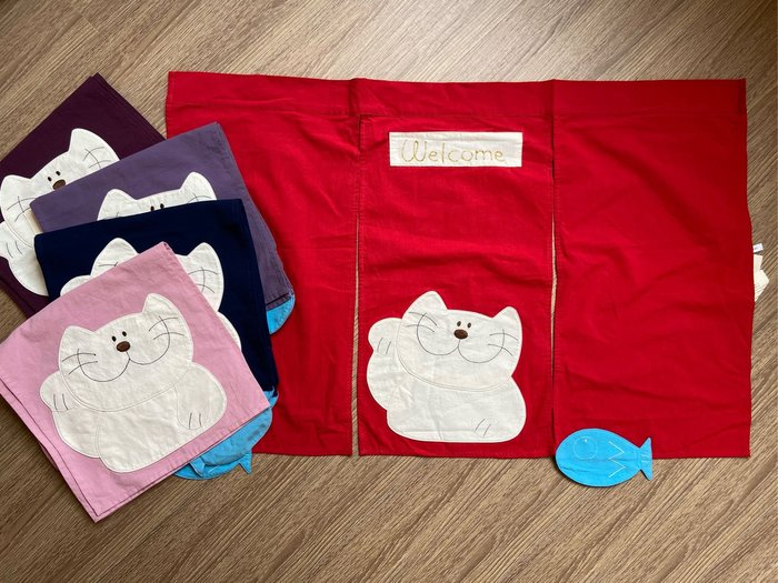 日本卡拉貓~貓咪小魚三片式短門簾