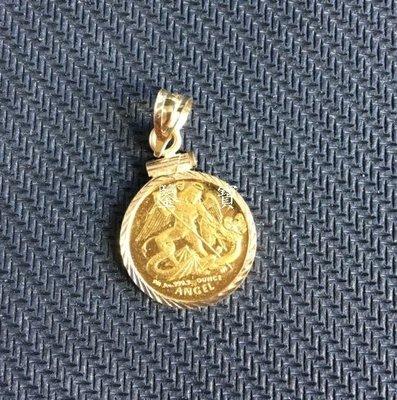 【鑒 寶】(世界各國紀念幣)馬恩島2005年天使屠龍1/20盎司鑲嵌麻花邊金幣吊墜 HNC2708