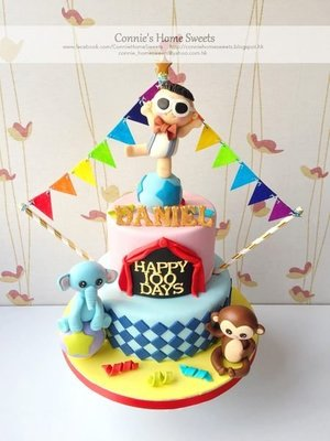 【Connie's Home Sweets】Made-to-order 馬戲團主題立體蛋糕 Circus theme 3D cake birthday cake 100 days