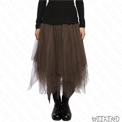 【WEEKEND】 MARC LE BIHAN Uneven Tulle 不對稱 三層 薄紗 裙子 長裙 紗裙 銅色