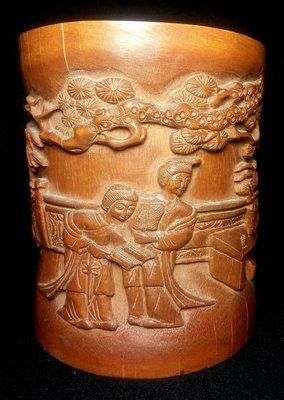 早期竹雕筆筒