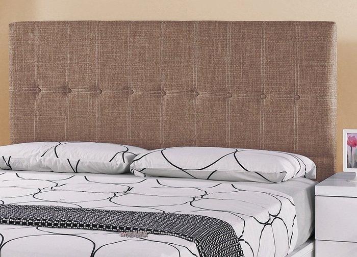 【DH】商品貨號N580-5名稱 《凱納》5尺棕色乳膠皮仿亞麻布紋雙人床片(圖一 二)。備有六尺。台灣製可訂做。新品特價
