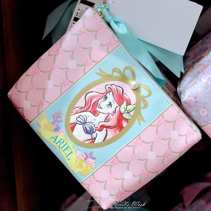 Ariel Wish預購-日本東京迪士尼三公主小美人魚愛麗兒灰姑娘仙度瑞拉長髮公主樂佩蝴蝶結珍珠玫瑰花化妝包收納袋