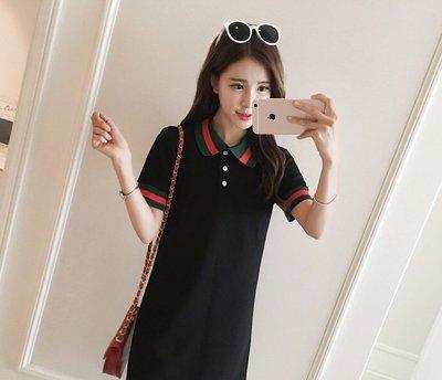 *Angel  Dance*短袖純棉洋裝(2色)@韓系  S到5X L polo領 大中小尺碼 顯瘦 寬鬆@現貨+預購