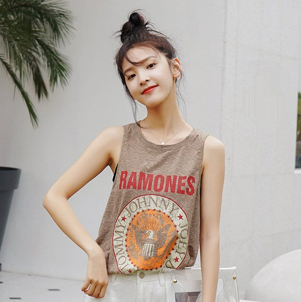 SeyeS MINI 復古率性女孩搖滾少女ramones樂團印花背心
