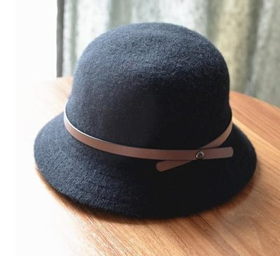 HAT 正韓 羊毛毛呢帽 高端禮帽漁夫帽皮帶裝飾針織禮帽復古盆帽 遮陽帽 黑色現貨