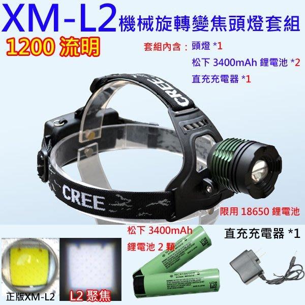 XM-L2 LED機械變焦強光頭燈+松下3400mah鋰電池X2顆+直充充電器1個/強光頭燈/手電筒