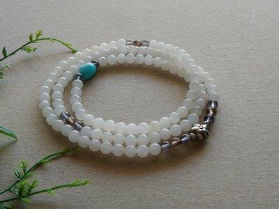 簡單Simple。現貨。00428號天然 和闐玉/和田玉/白玉多圈手串泰國925純銀珠佛珠念珠  6MM。