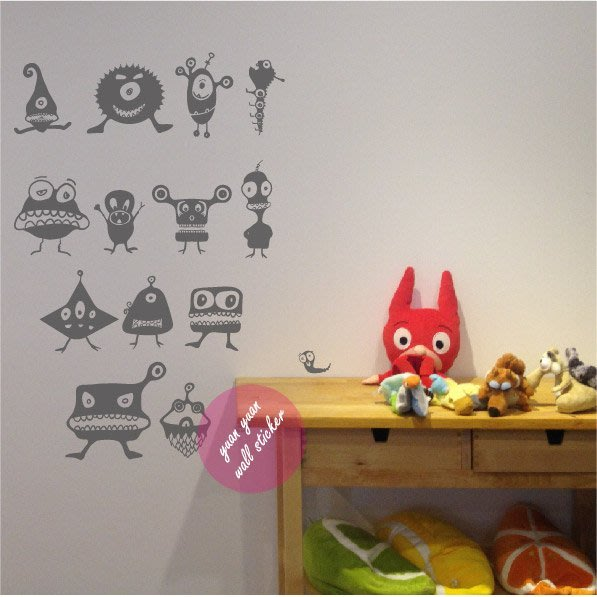 【源遠】可愛蟲蟲入侵【A-31】壁貼 壁紙 室內設計 趣味 車身貼紙 大型貼紙 外星人 兒童房