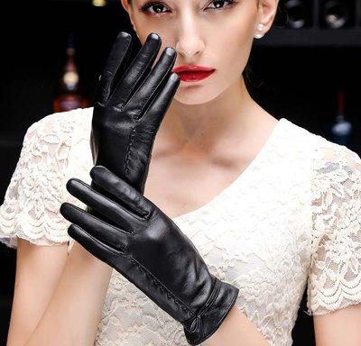 真皮手套 冬季海寧新款羊皮加絨加厚韓版蝴蝶結短款騎行手套
