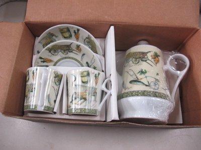 二手舖 NO.4404 陶瓷茶具組 1壺2杯2底盤 下午茶  居家擺飾