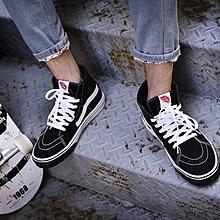 D-BOX VANS Sk8-Hi 黑色 白縫線 皮革 高幫 休閑帆布鞋 運動鞋 情侶鞋