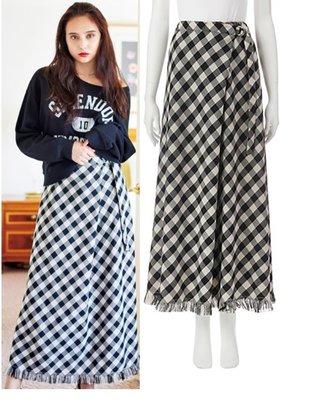 【WildLady】特促 日本時髦有型摩毛邊設計款A字裙 格子長裙COCO DEAL AIIA