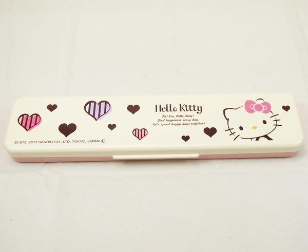 KITTY 環保餐具組 湯匙+筷子+餐具盒  低噪音設計 愛心 241437 日本製 奶爸商城