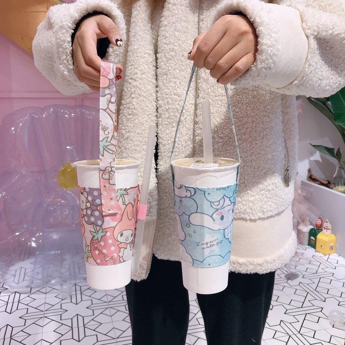 禧禧雜貨店-手提袋帆布奶茶兜斜挎可愛環保飲料提袋防水杯套兜兜裝奶茶的布袋#新款
