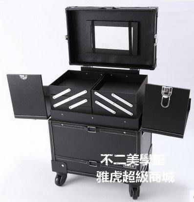 【格倫雅】^黑色幽雅多層復古專業拉桿化妝箱 大容量萬向輪31616[g-l-y93