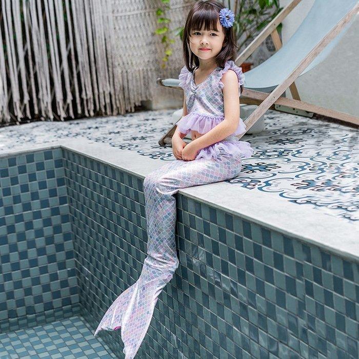 •*~ 辣媽咪衣飾小舖 ~*•❤童裝系列 📣C990834韓版卡通美人鱼尾巴表演泳装(上衣+內褲+魚尾)