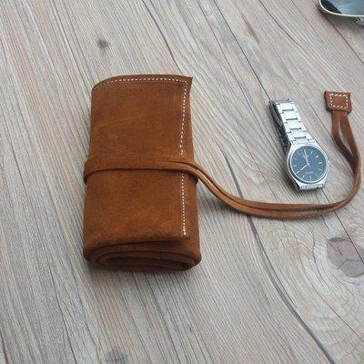 [包妳喜歡]文藝簡約真皮腕表包便攜式手表收藏袋68位手工復古牛皮收納袋男女009
