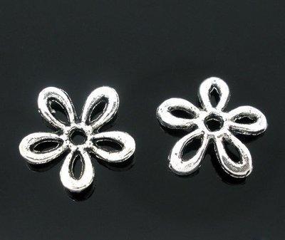 新款時尚古銀梅花間隔珠金屬手鏈項鏈間斷珠 DIY飾品服飾配件批發