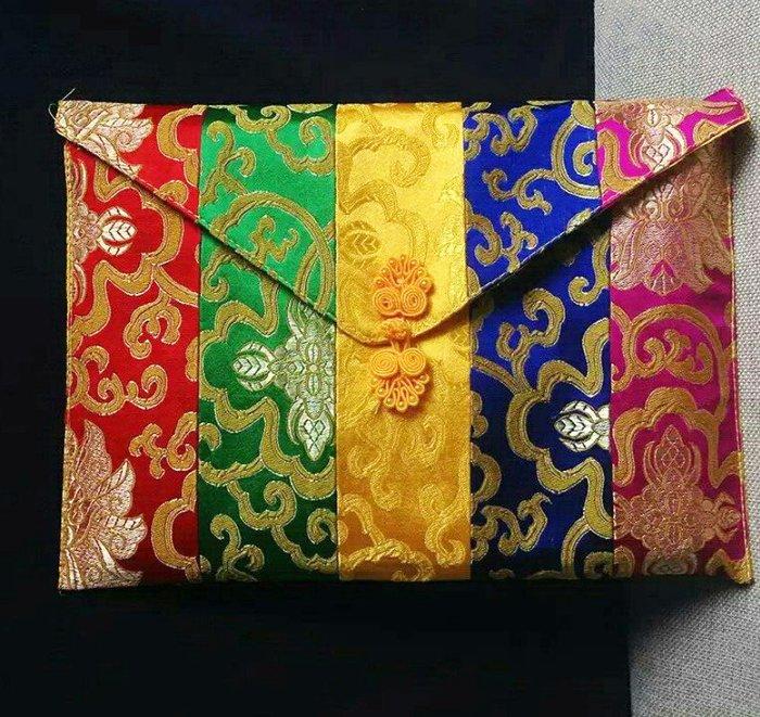 【準提無意間】買大送小* 新款 A4大號   手工高檔錦緞雙層內裡 五色經文袋  法寶袋  經書袋 佛經袋