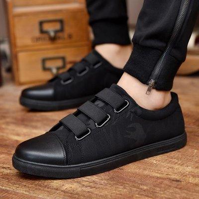 夏季帆布鞋青少年正韓潮流百搭平底黑色板鞋學生懶人休閒鞋子男鞋