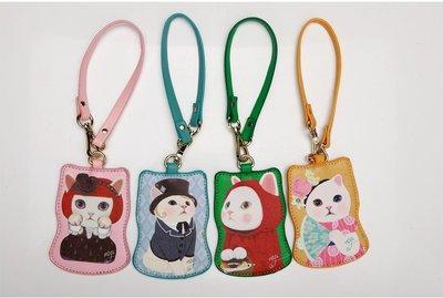 韓版可愛貓咪造型皮革隨身兩用證件票卡夾鑰匙圈