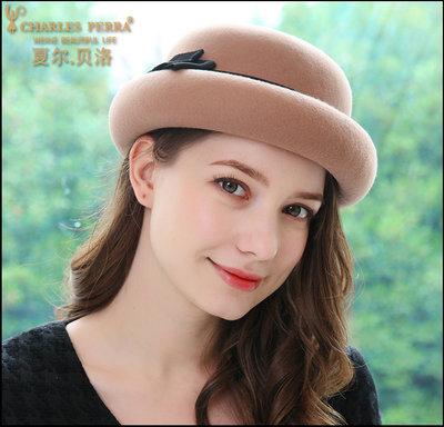 【小p包鋪】夏爾貝洛 秋季新品全羊毛日常小禮帽英倫百搭羊毛氊帽時尚貝雷帽