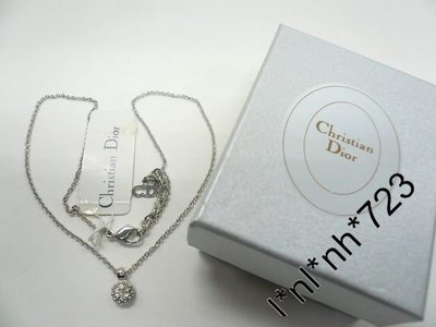 CHRISTIAN DIOR CD 圓形閃水晶吊咀銀色頸鏈 禮物 necklace crystal pendant