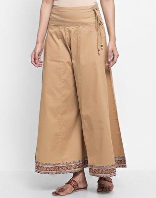 印度舞界 Fabindia Cotton Panelled Kalamkari Border Palazzo 寬褲