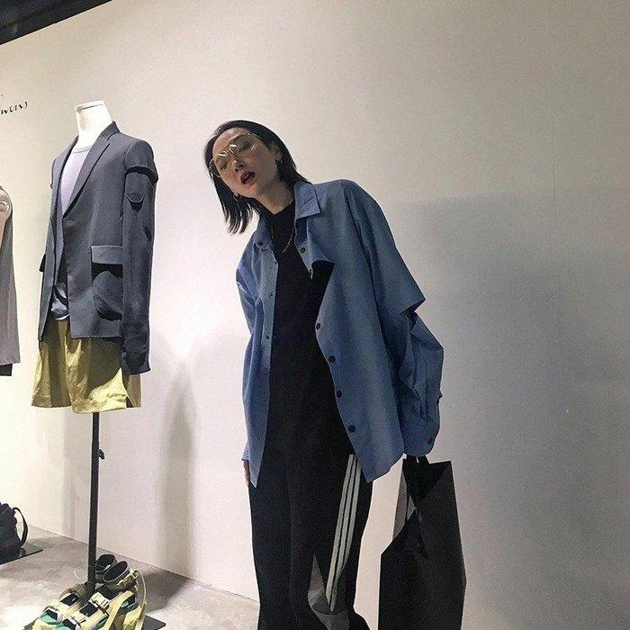 日和生活館 防曬 外套 正韓版Ace女士襯衣2019夏季新款薄ins藍色立領襯衫女不規則港風防曬外套8-8 S988