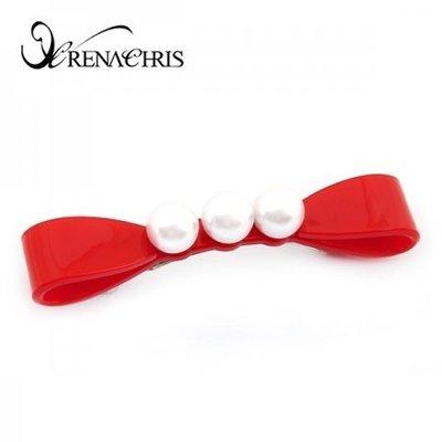BHI1140-法國品牌RenaChris 超可愛珍珠蝴蝶結髮夾 彈簧夾【韓國製】