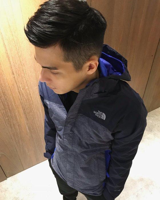 美國百分百【The North Face】連帽外套 TNF 北臉 夾克 防水 雙層外套 刷毛 深藍色 S號 J609