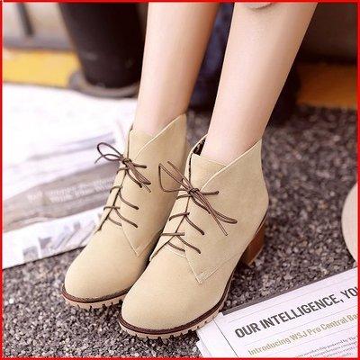 *鞋館Shoes hall*【A11998】秋日韓潮~低跟綁帶百搭短筒靴~6色~(可訂做大尺碼)