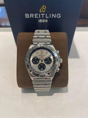 BREITLING  百年靈  CHRONOMAT B01 熊貓面 經典子彈表帶 計時腕錶 AB0134101G1A1