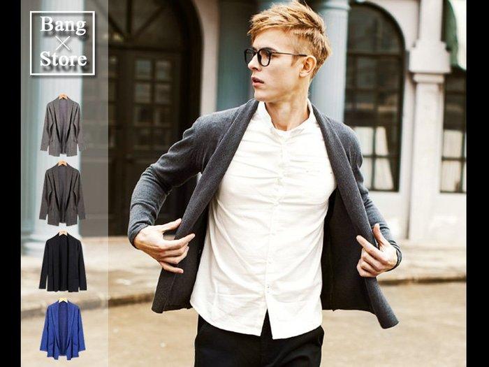BANG實拍 針織外套  薄毛衣 男裝 素色 男生 修身 顯瘦 時尚 百搭 帥氣 外套 中長 英倫 罩衫 西裝【M29】