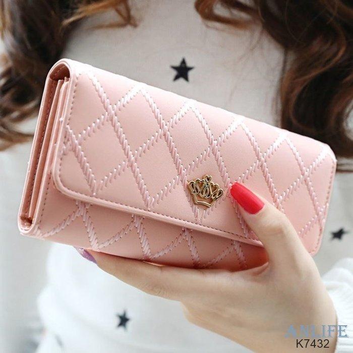 ANLIFE》女士長款三折錢包 菱格紋黃冠手拿包皮夾錢包卡包手機包K7432