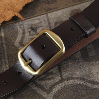 『老兵牛仔』CR-36純銅扣頭復古牛皮皮帶/頭層牛皮/復古/彈力/耐拉/個性
