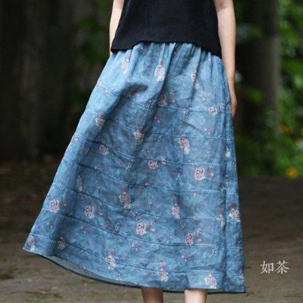 【如茶】清透印花天然苎麻氣質百搭半身裙