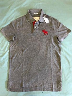 Abercrombie and Fitch A&F 男生刺繡麋鹿logo款 灰色素面網眼polo衫  M號 全新正品 重磅厚棉款 AF絕版材質