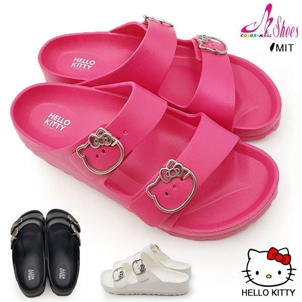 拖鞋~CM日韓鞋館~~107~915139~凱蒂貓立體鋼飾防水塑膠拖鞋.3色 黑 白 桃