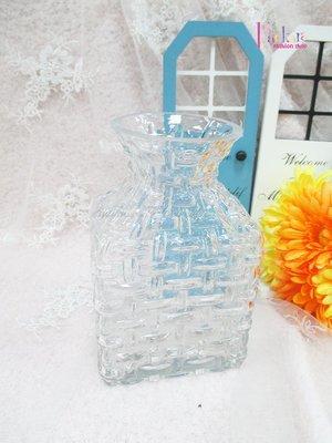☆[Hankaro]☆創意流行編織紋長方形玻璃花瓶(樣品出清)