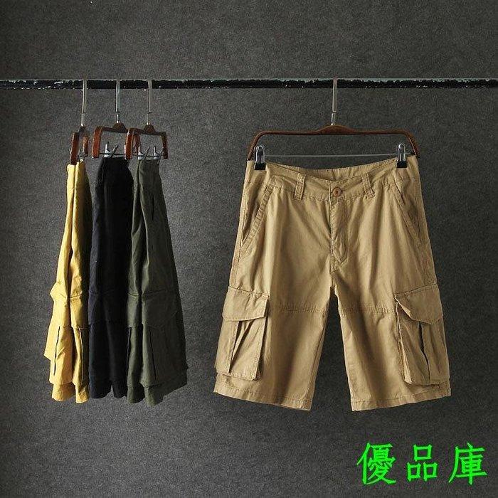 優品庫外貿原單男士工裝看 男士休閒夏款多口袋中短褲直筒工裝褲