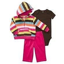 【安琪拉 美國童裝】Carter's 彩虹橫條紋3件式套裝 -連帽外套+包屁衣/連身衣+長褲 12M