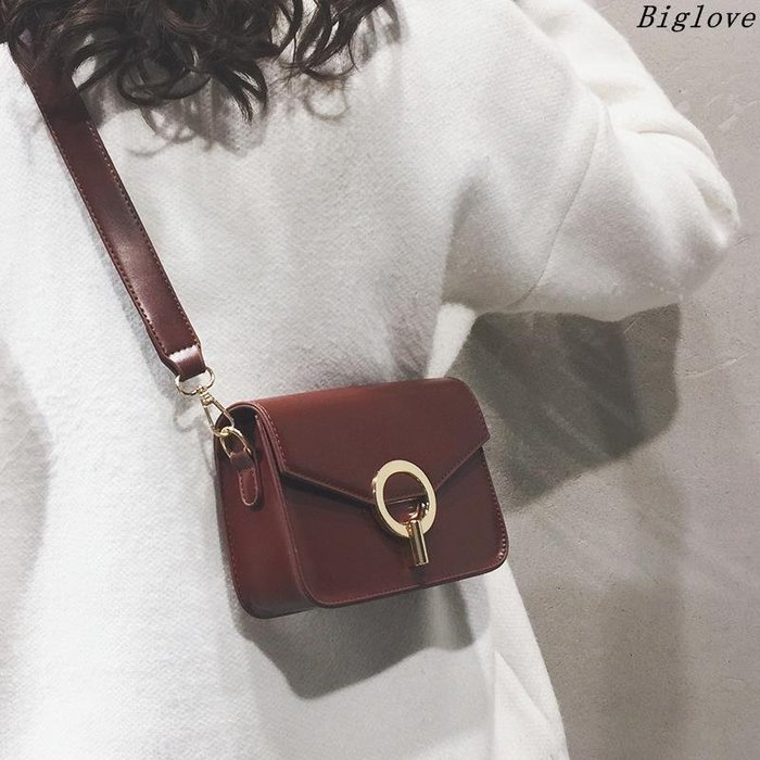 純色質感小包包女109新款冬季女包韓版復古百搭斜挎單肩小方包潮