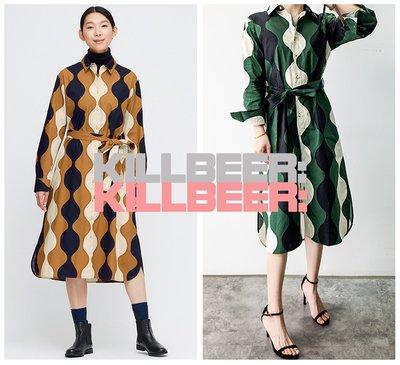 KillBeer:漂丿的都市名媛之 歐美復古60s普普風撞色波點圖騰幾何拼接排扣垂墜綁帶收腰連身裙長洋裝A022801