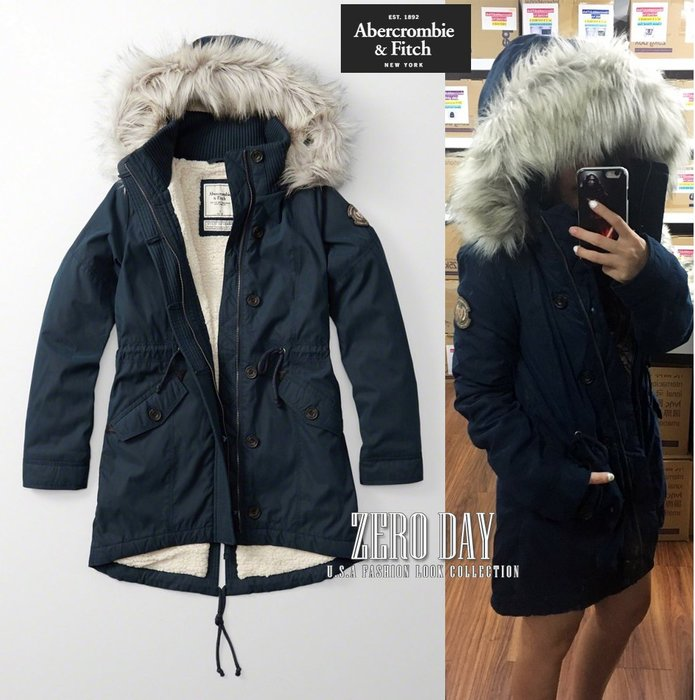 A&F Abercrombie&Fitch SHERPA-LINED MILITARY PARKA毛軍外套N3B深藍色