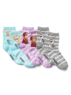 【天普小棧】GAP KIDS Disney Frozen half crew socks迪士尼冰雪奇緣短襪半筒襪3雙/組