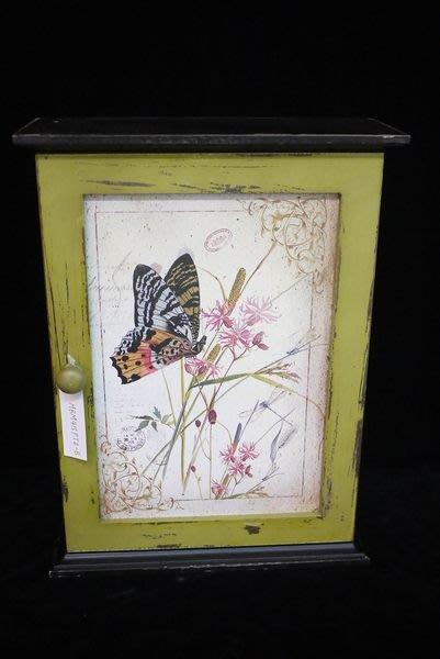 【布拉格歐風傢俱】法式鄉村風復古蝴蝶 花6勾keybox 鑰匙盒 綠白仿舊 禮物 裝飾