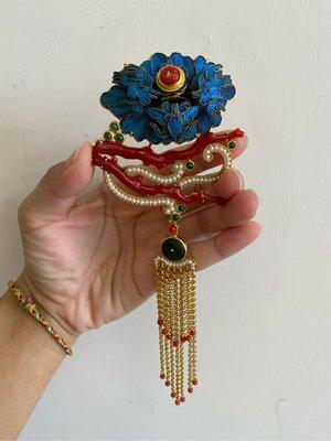 中國傳統藝術-點翠珊瑚珍珠別加墜